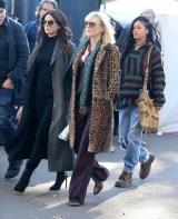 Rihanna, Cate Blanchett and Sandra Bullock on set of Ocean's Eight in New York on November 7, 2016 wearing jeans
