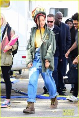Rihanna and Helena Bonham Carter film Ocean's Eight in New York on November 5, 2016 Green jacket