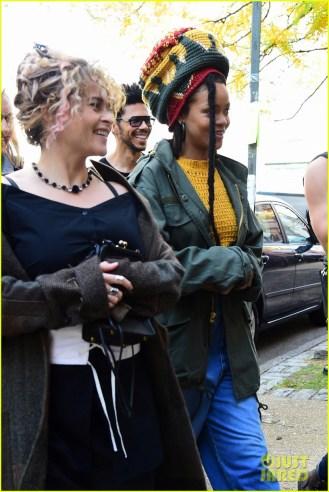 Rihanna and Helena Bonham Carter film Ocean's Eight in New York on November 5, 2016 smiling