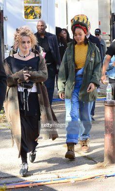 Rihanna and Helena Bonham Carter film Ocean's Eight in New York on November 5, 2016