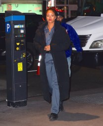Rihanna heading to Ocean's Eight set on December 9, 2016 Long coat
