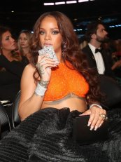 Rihanna attends 2017 Grammy Awards flask