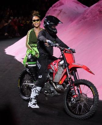 Rihanna Closes Her Fenty Puma Fashion Show by Riding in on a Dirt Bike