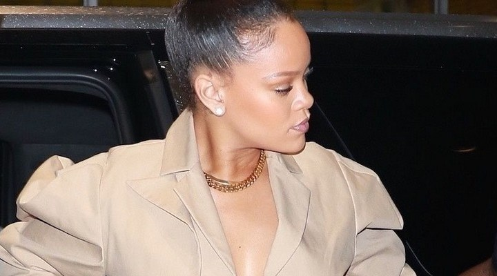 Rihanna rocks white boots in New York
