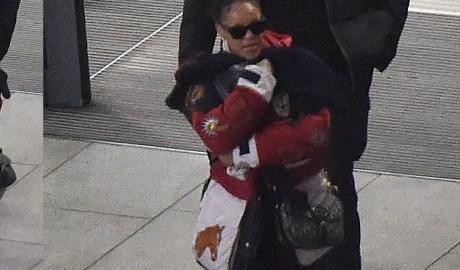 Rihanna spotted arriving in London December 11, 2017