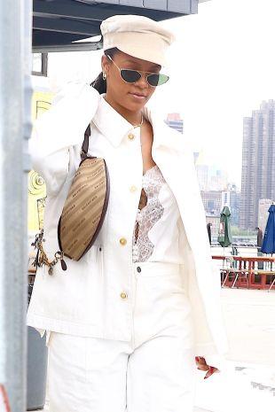 Rihanna at Anable Basin Sailing Bar and Grill on May 10, 2018 denim