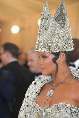 Rihanna attends 2018 Met Gala in New York on May 7, 2018 Heavenly Bodies: Fashion and the Catholic Imagination