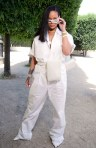 Rihanna attends Louis Vuitton fashion show in Paris on June 21, 2018 full shot
