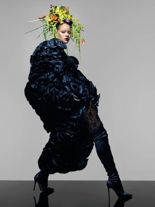 Rihanna covers the September 2018 issue of British Vogue long coat, floral headress