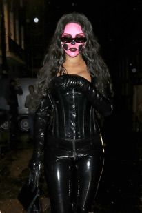 Rihanna steps out in London for Halloween with skull on October 31, 2018