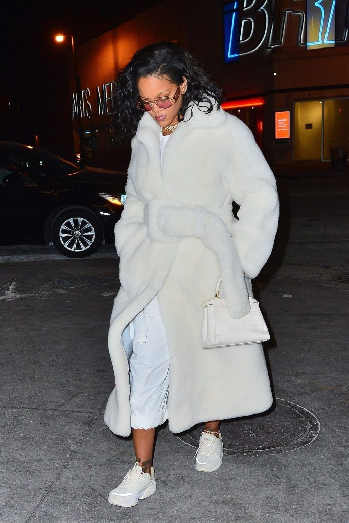 Rihanna rocks $12K Cèline coat in New York on February 1, 2019