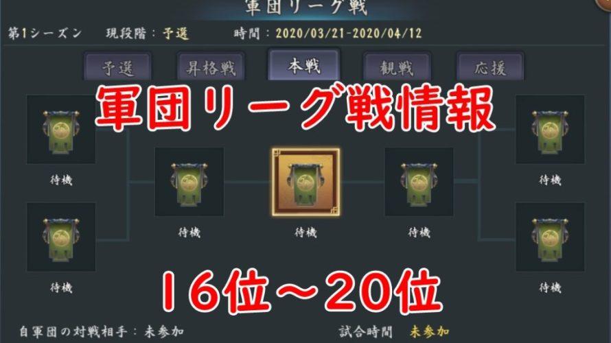 新三国志 軍団リーグ情報(16~20位)