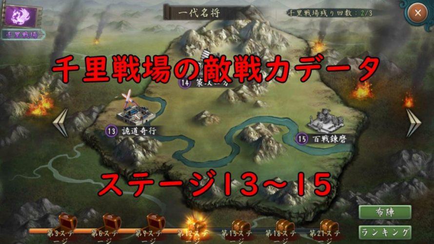 千里戦場の敵編成や戦力傾向(ステージ13のみ完成)