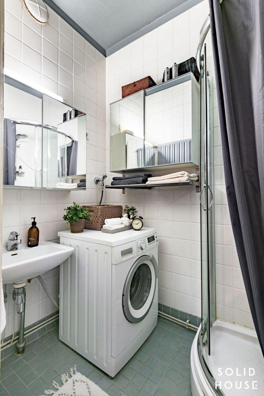 Kylpyhuone on ollut pienistä neliöistään huolimatta toimiva: sinne pahtuu suihku ja pyykinpesu.