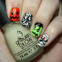 Halloween Nails - Græskar, Øjne, Frankensteins Monster og Mumie