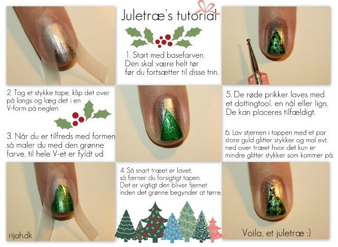 christmas tree nails tutorial Juletræs tutorial