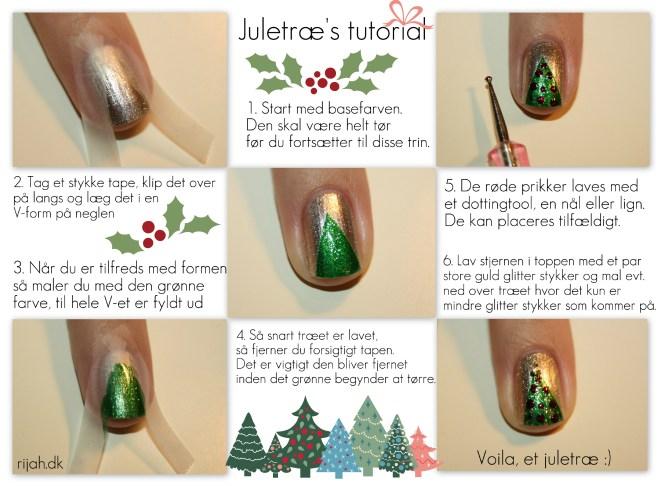 christmas tree nails tutorial Juletræs tutorial