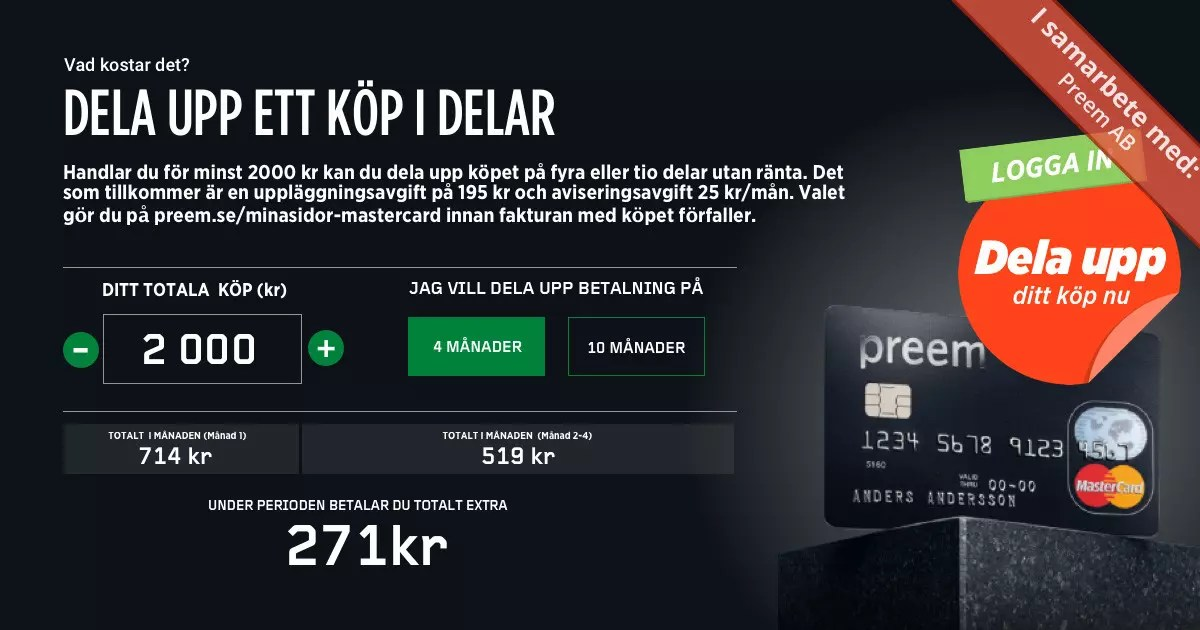 Försättsbild till artikeln: Preem MasterCard: Betala i din egen takt - Reklam: Dela upp ett köp i flera delar...