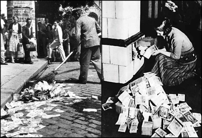 Pengar som förlorat sitt värde på grund av inflationen.