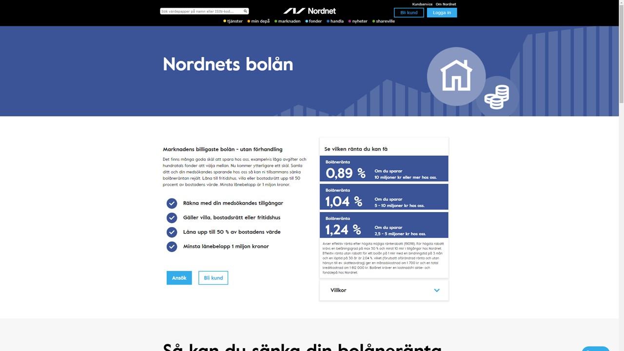 f8ebd0d077e Nordnet erbjuder ränta från 0,89 % vid 50 % belåning beroende på sparat  kapital
