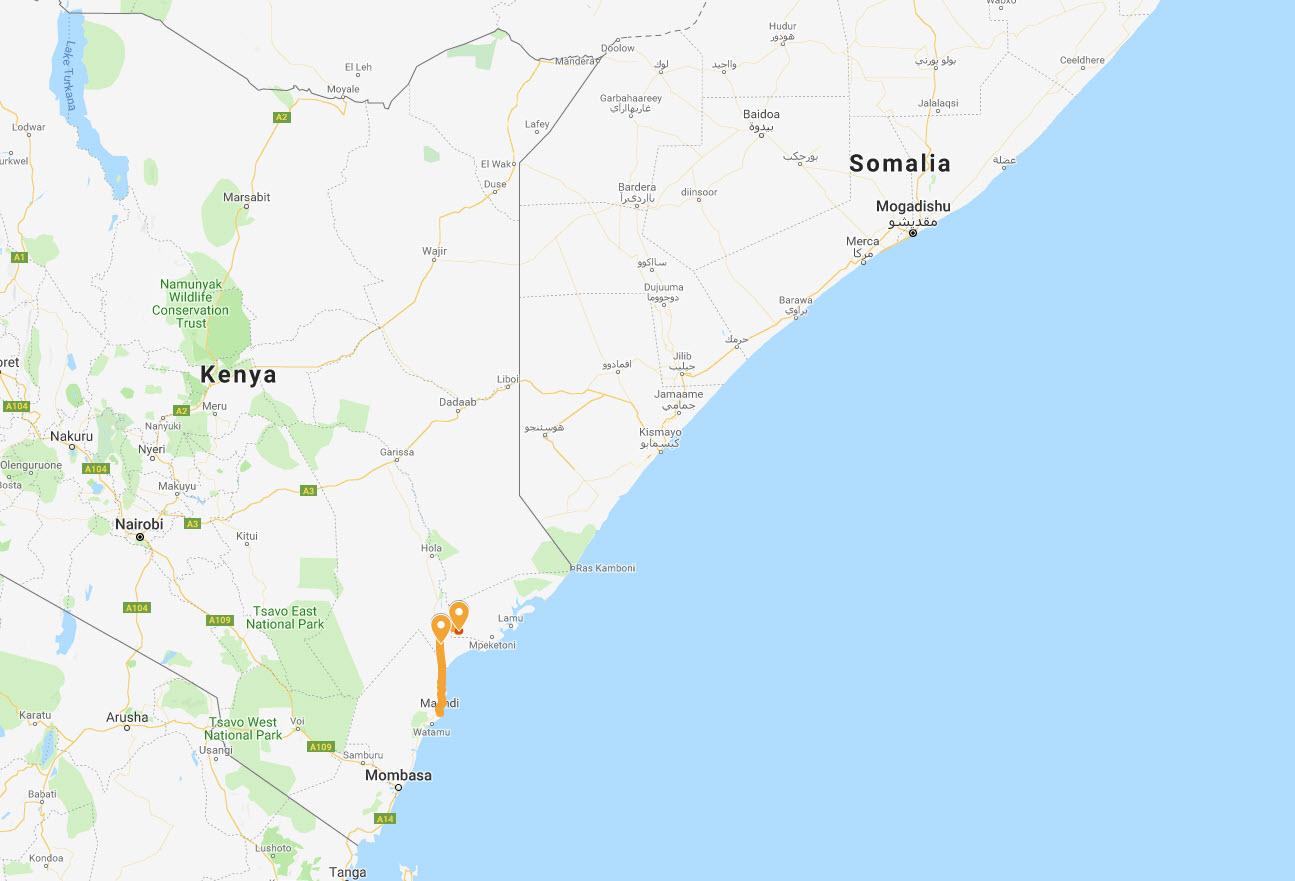 Vi körde från kuststaden Malindi upp till länet Lamu som UD avråder besök i, till plantagen som ligger vid sjön Moa.