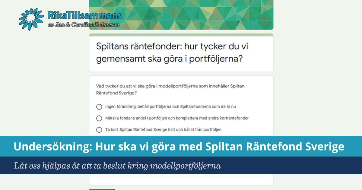 Försättsbild till artikeln: Undersökning: Hur ska vi göra med Spiltan Räntefond? - Låt oss slå våra kloka huvuden ihop och resonera kring Spiltan Räntefond Sveriges plats i modellportföljerna...