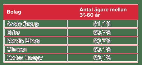 Antal ägare mellan 31-60 år