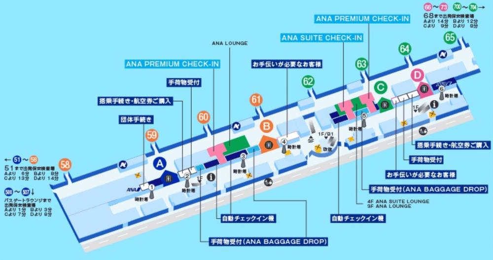 羽田空港国内線のANAプレミアムチェックインの場所