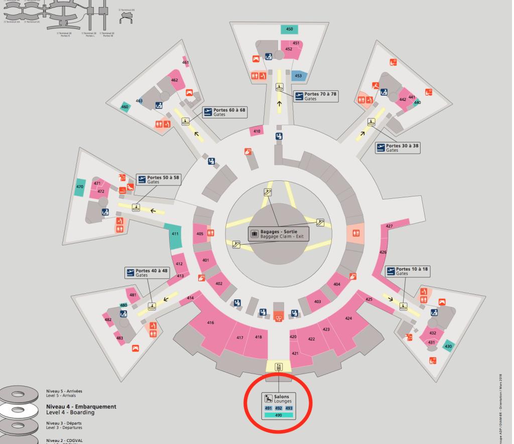シャルル・ド・ゴール空港ターミナル1マップ
