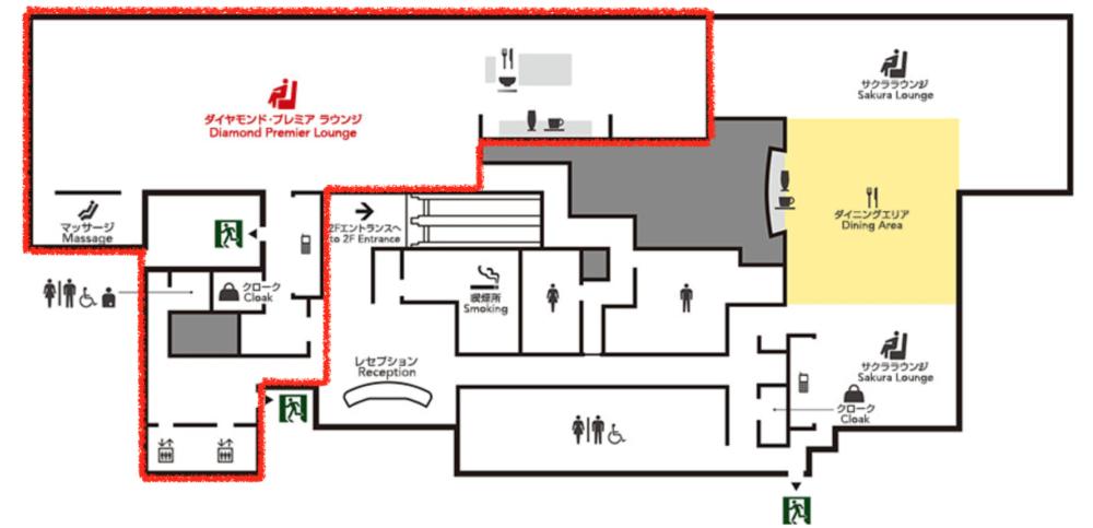 伊丹空港JALダイヤモンドプレミアラウンジフロアマップ