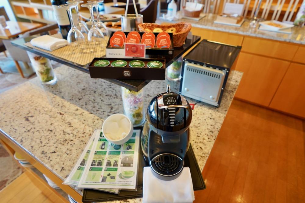 シェラトングランドホテル広島・クラブラウンジ・ドリンク&フードカウンター・コーヒーマシンデカフェ