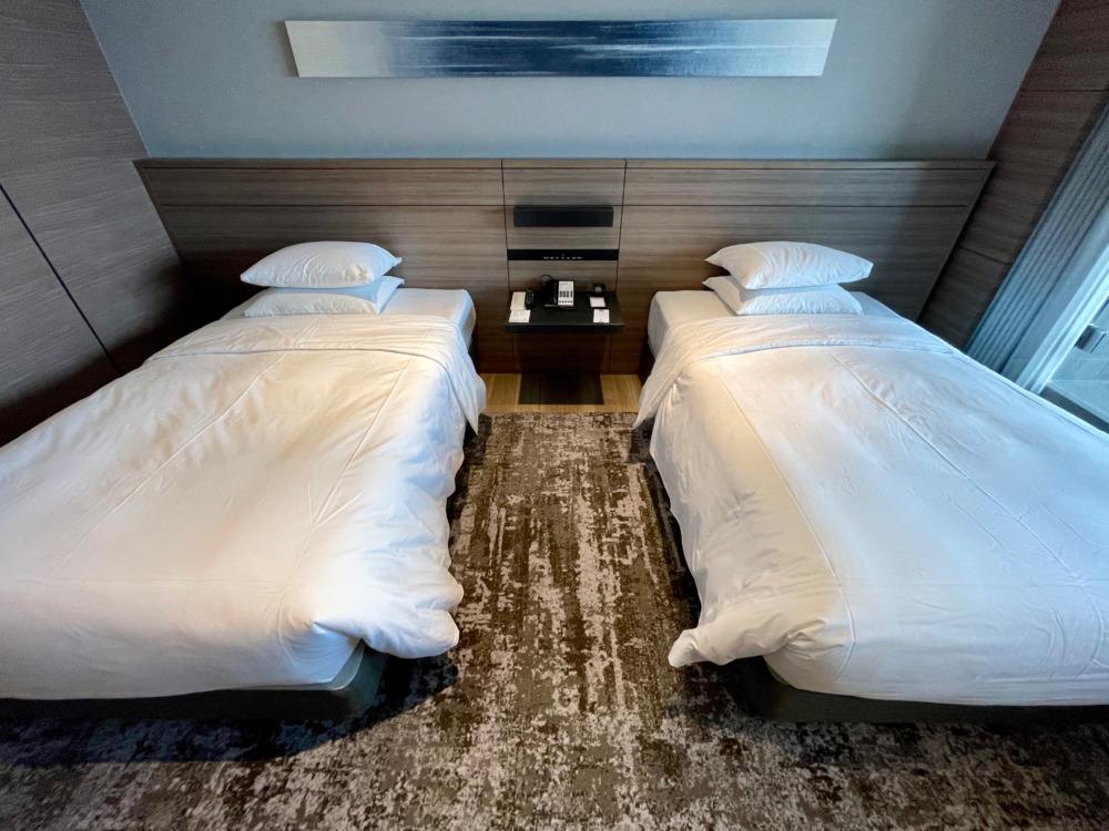 南紀白浜マリオットホテル宿泊記・温泉ビューバス付・ベッドルーム・ベッド