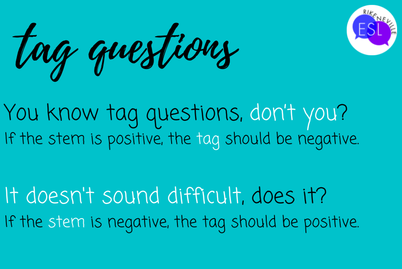 a brief explanation of tag questions with examples