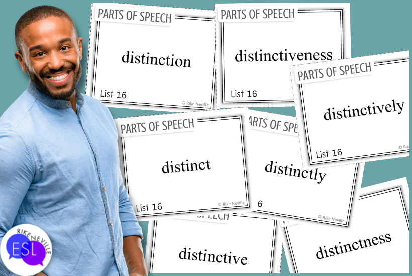 Man stands before parts of speech cards that can be used to teach academic vocabulary