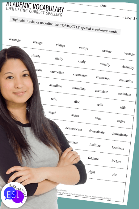 woman stands in front of a worksheet to use to teach academic vocabulary