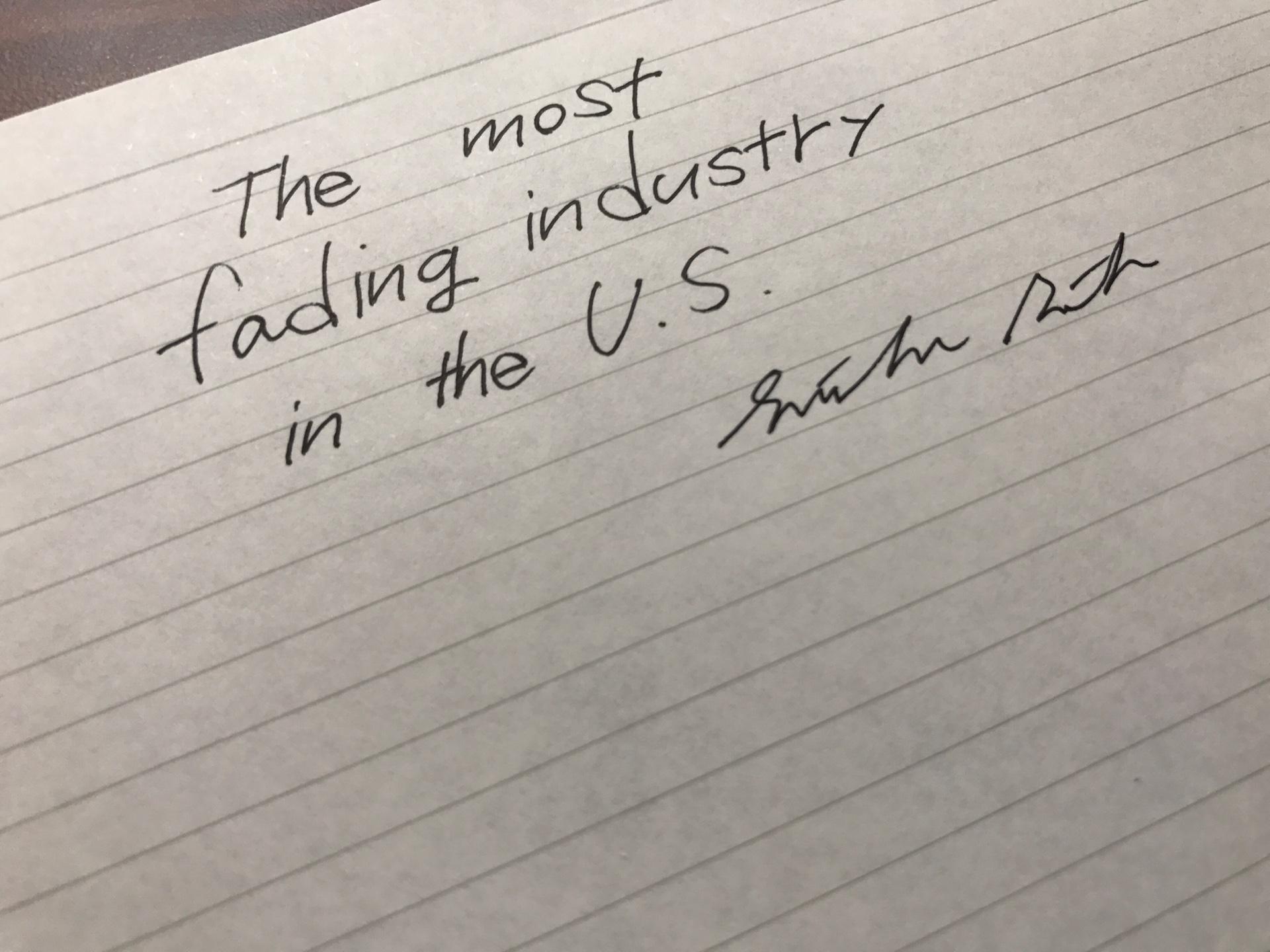 究極の斜陽業界inアメリカ。