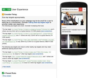Google PageSpeed Insights User Experience Beta
