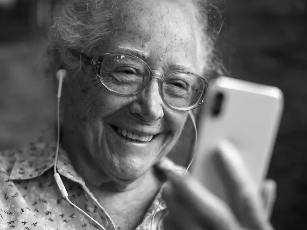 Older person with smartphone