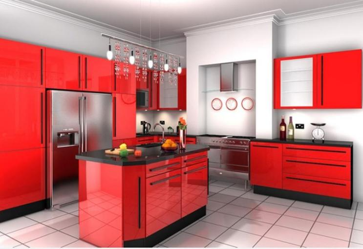 15 Contemporary Kitchen Designs with Red Cabinets   Rilane 15 Contemporary Kitchen Designs with Red Cabinets