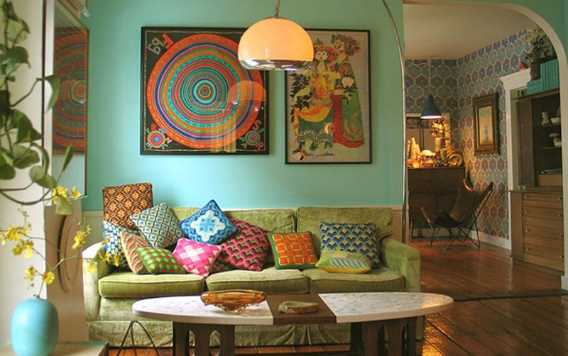 Boho Room Bohemian Decor Pastel Living Room With Mint Colored Walls And  Bold Eclectic Pillows