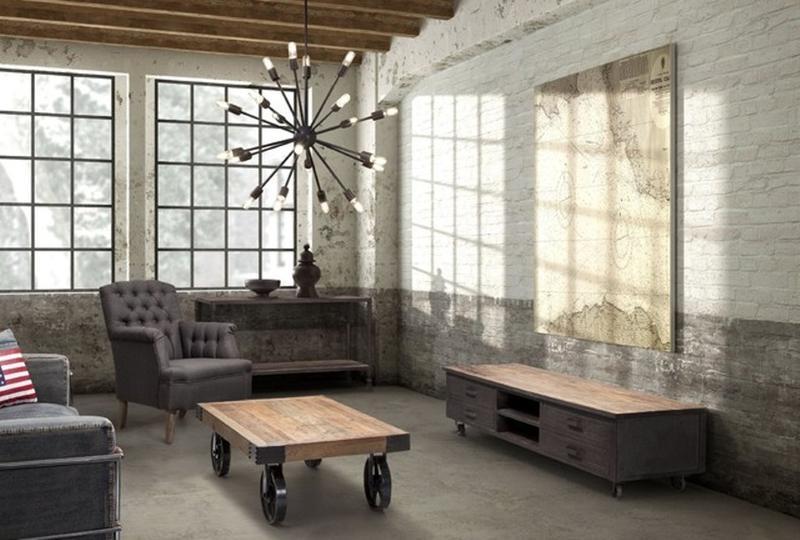 white industrial living room