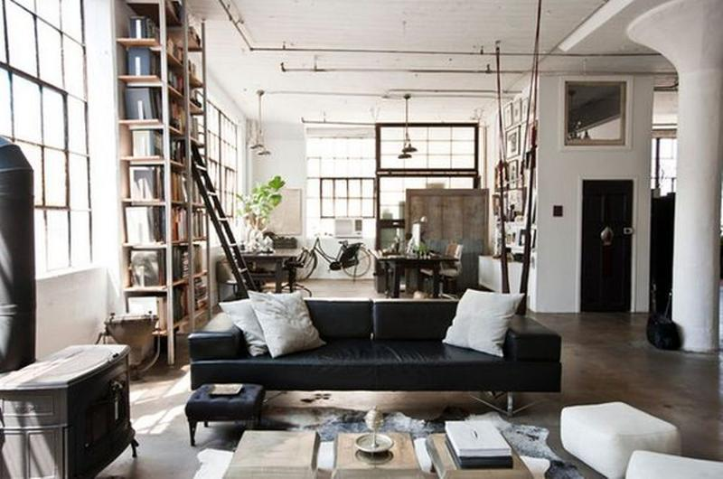 vintage industrial living room