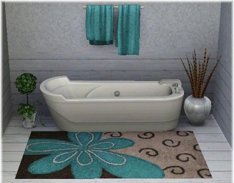 Brown And Blue Bathroom Rug