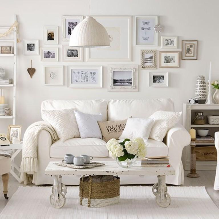 white themed living room