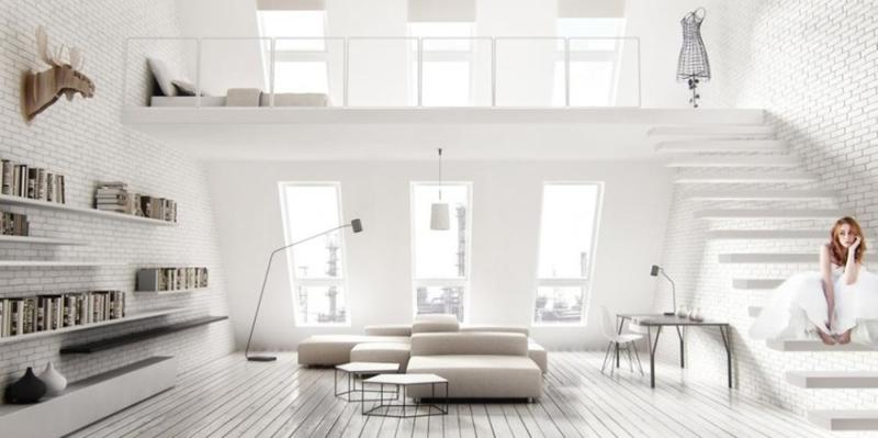 white living room with splash of color