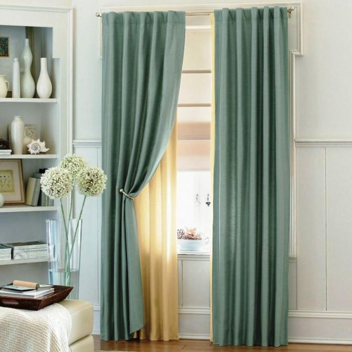15 Delightful Sheer Curtain Designs for the Living Room   Rilane Cool Light Blue Curtains with Sheer Curtain