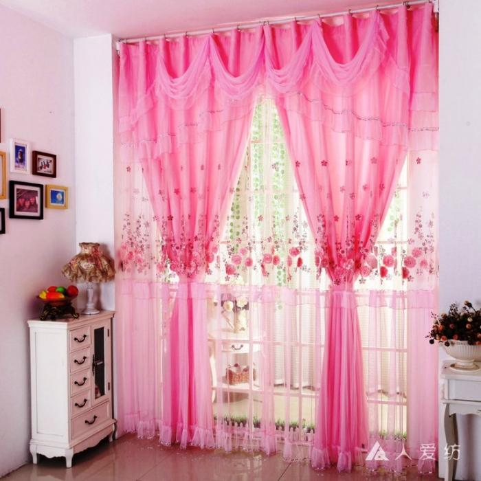 15 Delightful Sheer Curtain Designs for the Living Room   Rilane Pink Lace Romantic Sheer Curtain