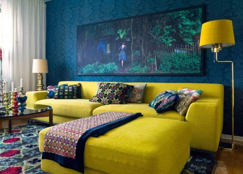 20 Charming Blue And Yellow Living Room Design Ideas Rilane Part 49