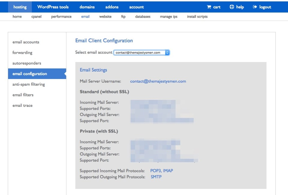 bluehost email configuration options