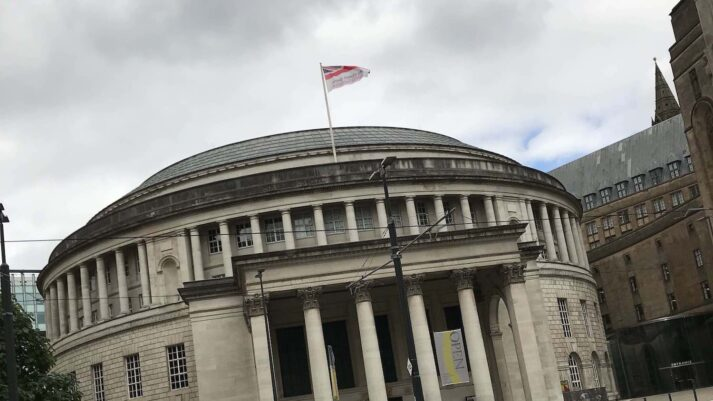 Flag flying onto of Manchester library